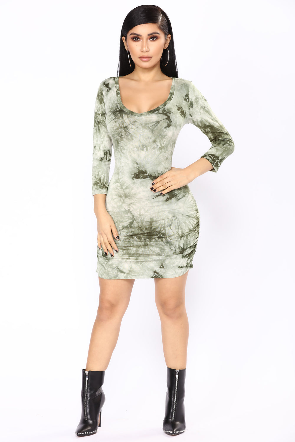 Tanika Tie Dye Dress - Olive