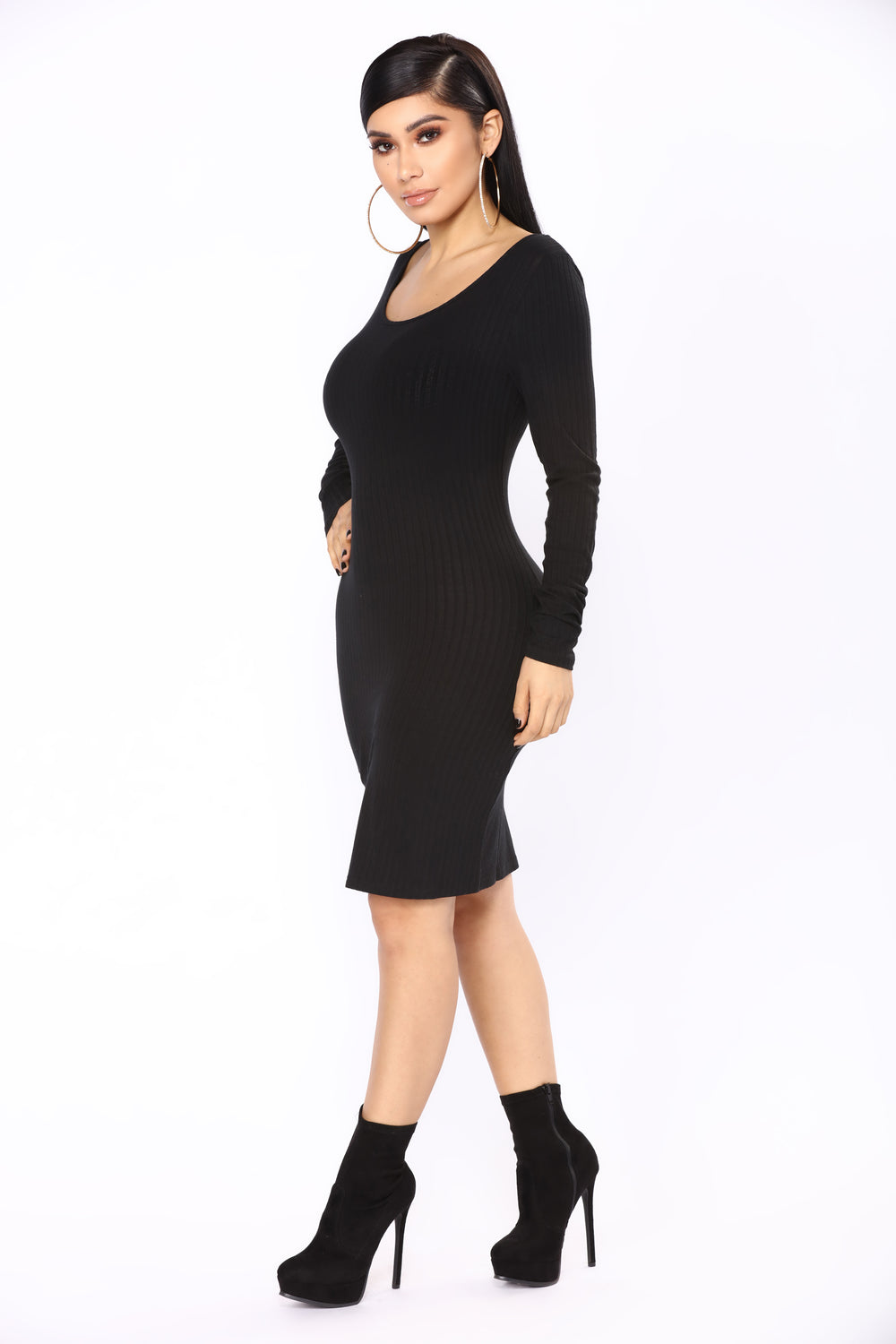 Selene Ribbed Dress - Black
