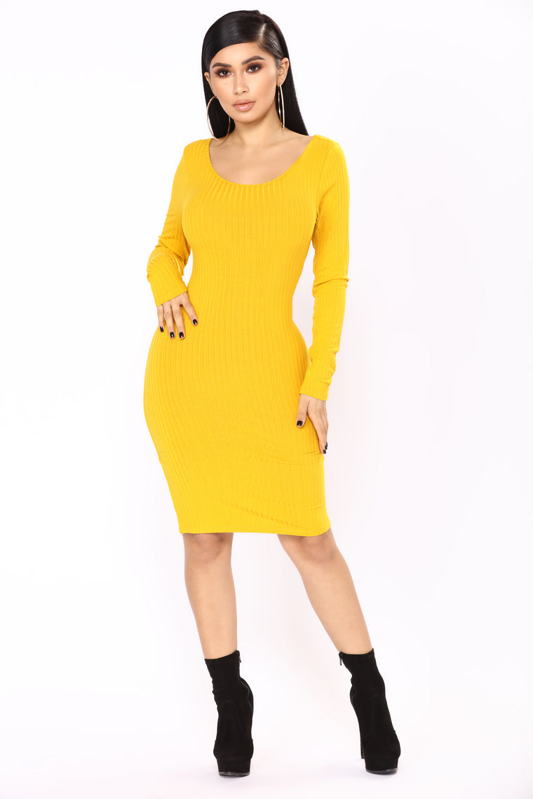 Selene Ribbed Dress - Mustard