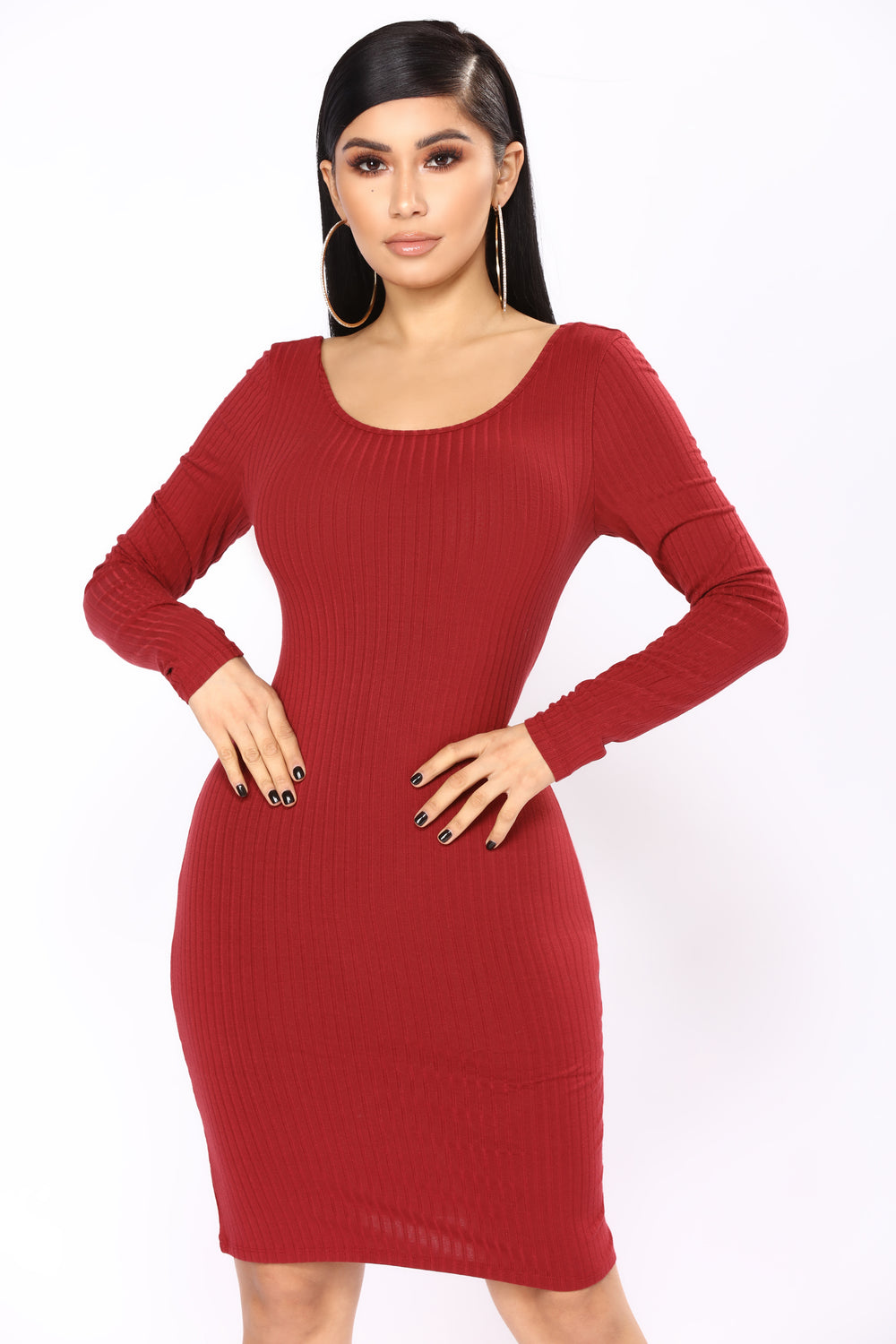 Selene Ribbed Dress - Burgundy