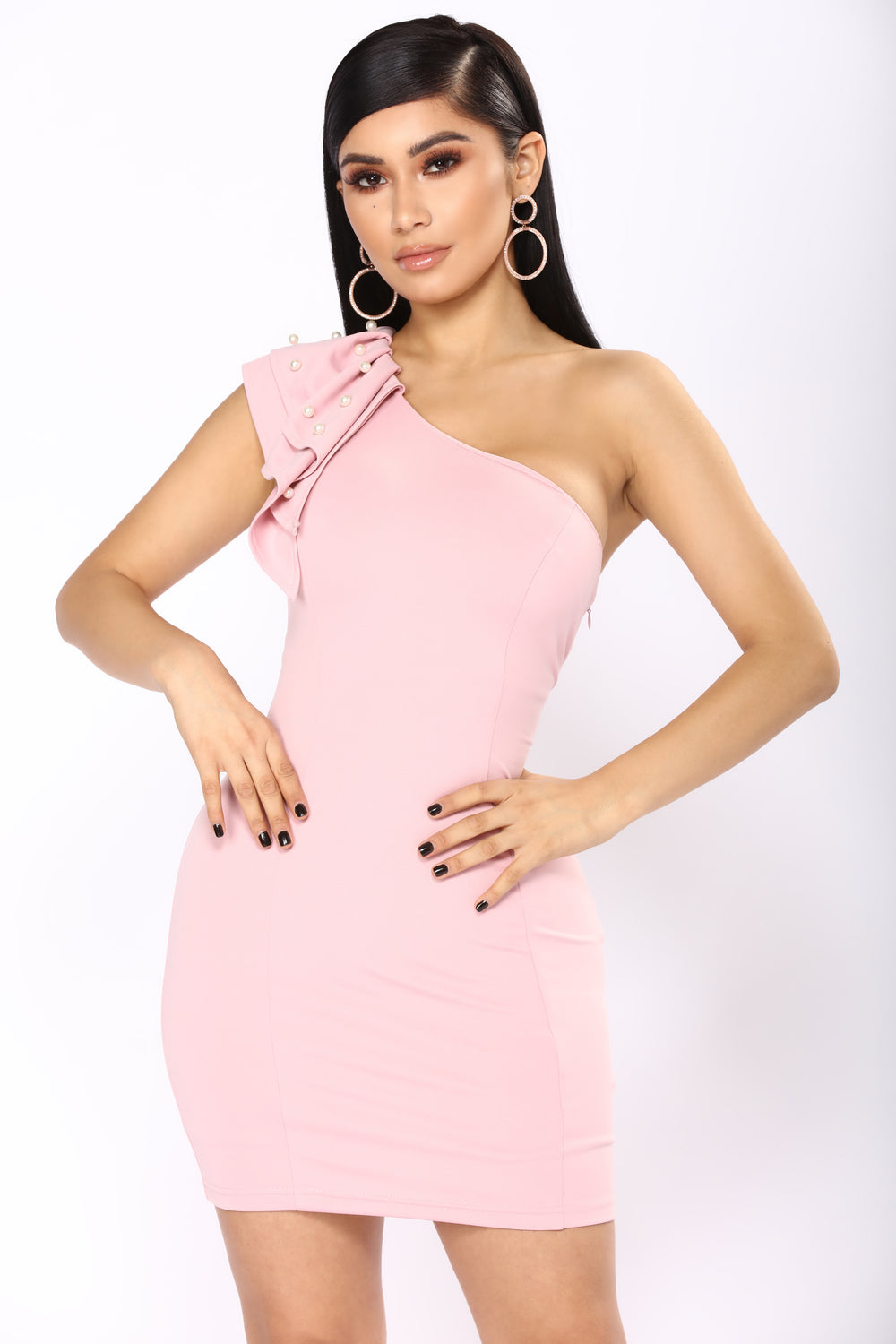 Perla One Shoulder Dress - Pink