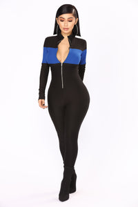 Under Construction Lounge Jumpsuit - Black/Royal Angle 1