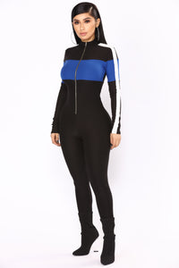 Under Construction Lounge Jumpsuit - Black/Royal Angle 4