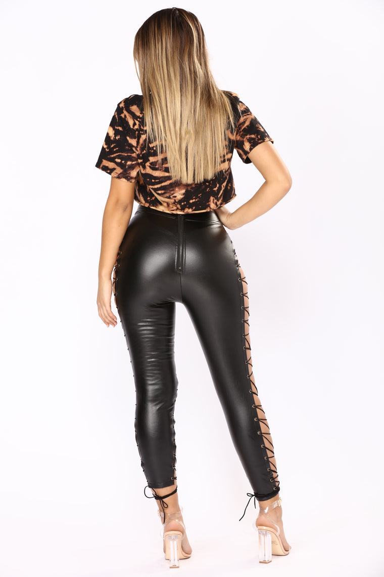 Wild Hearts Lace Up Pants - Black