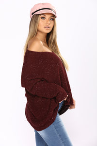 Hold Tighter Long Sleeve Sweater - Plum