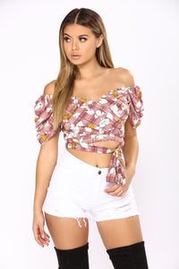 Sweet As Can Be Crop Top - Burgundy/Multi