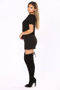 Money Talks Graphic Tunic - Black