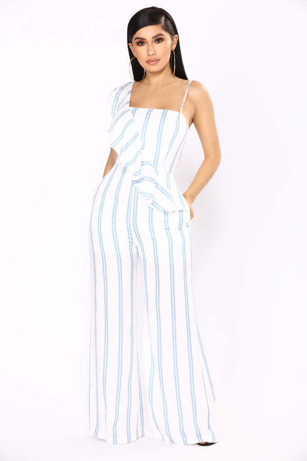 7695f67d1a Manchester By The Sea Stripe Jumpsuit - Ivory Blue