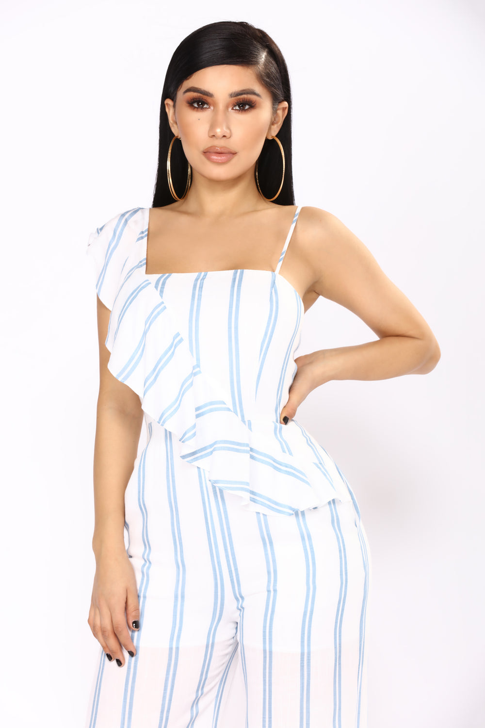 Manchester By The Sea Stripe Jumpsuit - Ivory/Blue