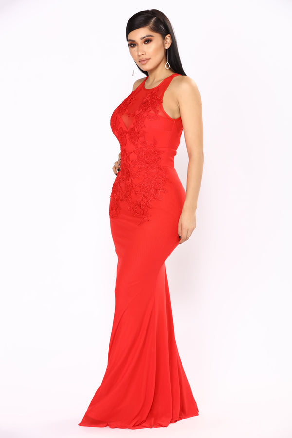 0a45286eb8720 Amour Lace Dress - Red