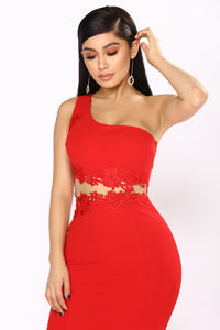 Admire One Shoulder Dress - Red