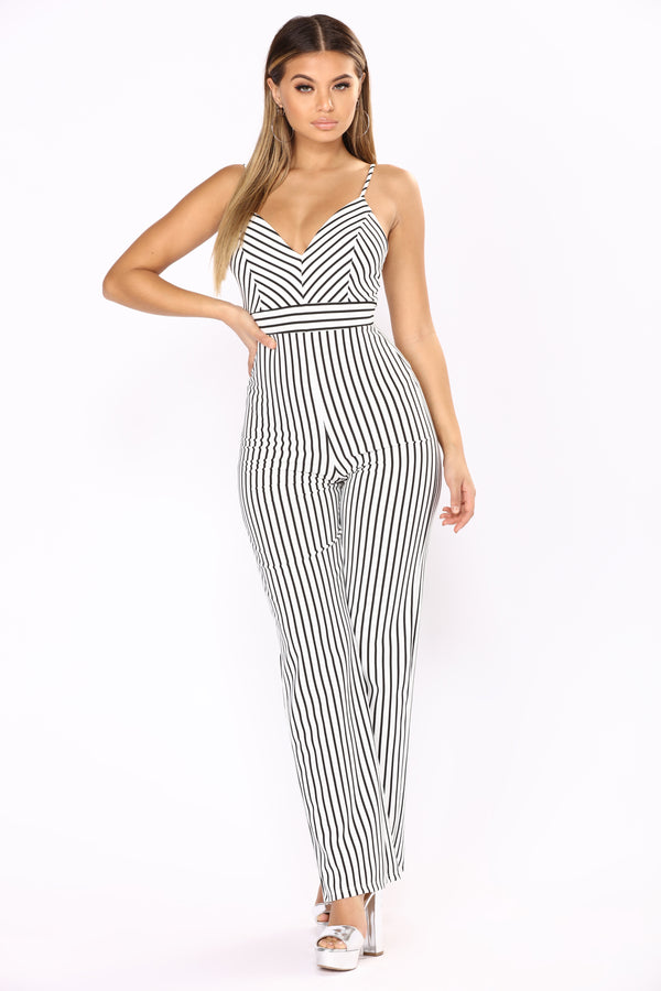 cec5f87cfec A Change In Stripes Jumpsuit - Ivory Black