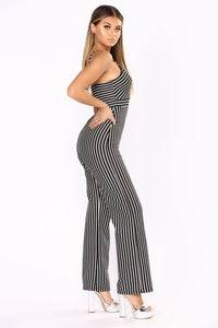 A Change In Stripes Jumpsuit - Black/Ivory