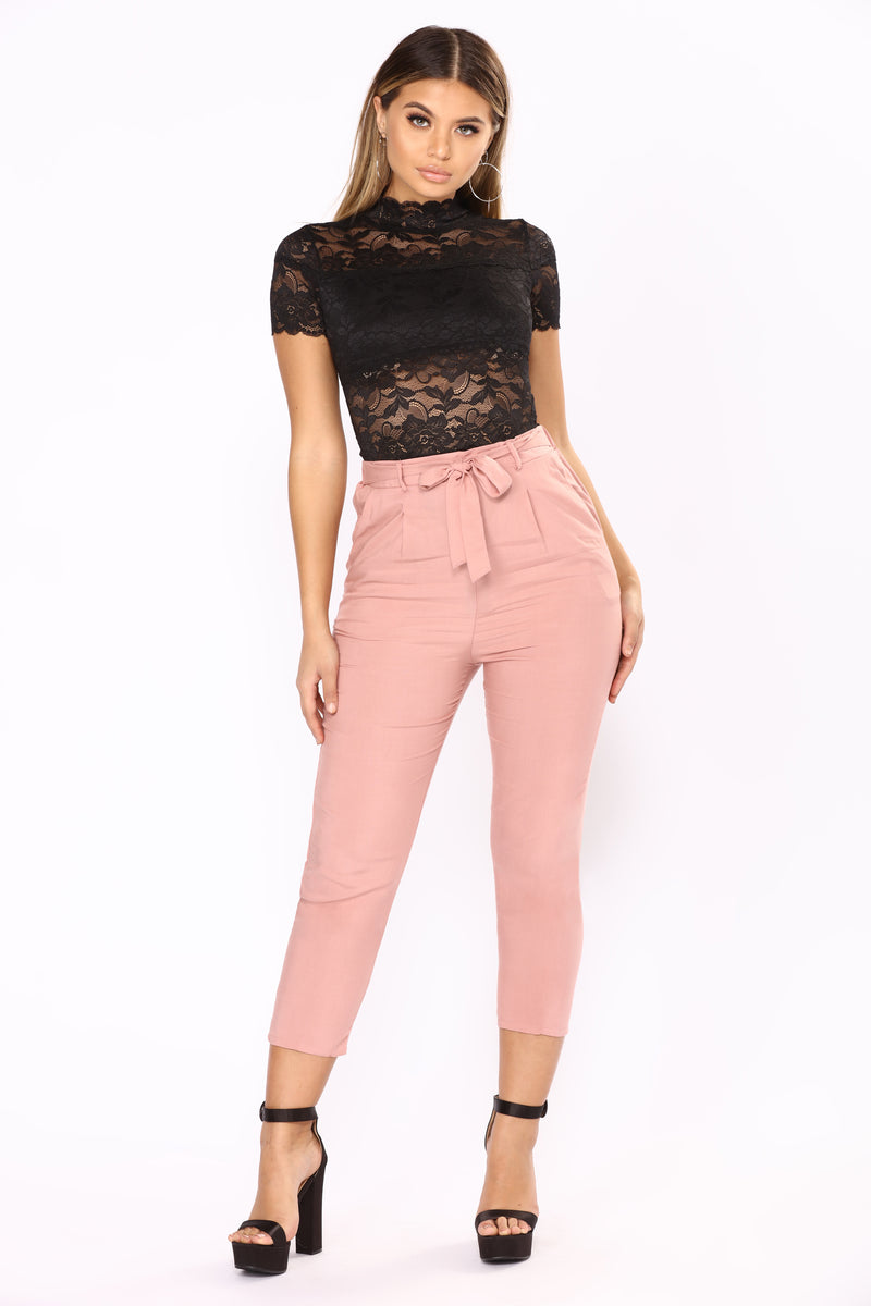 Work It Waist Tie Pants - Mauve