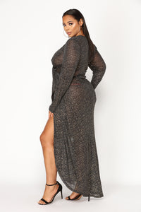 Look At The Stars Metallic Dress - Black Angle 6