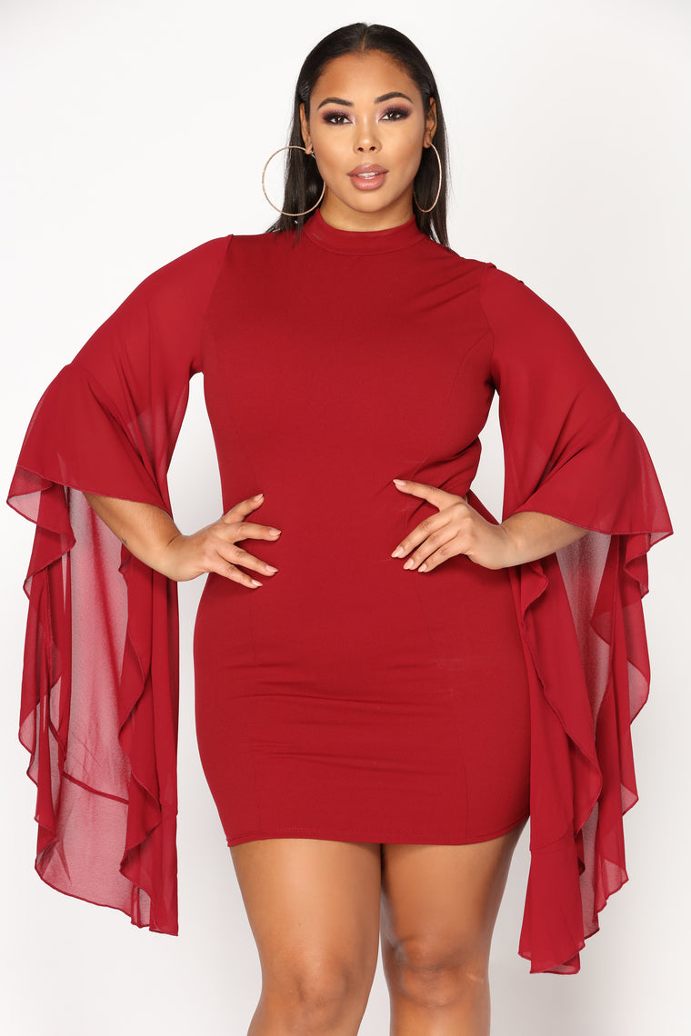 talk with your hands dress  burgundy