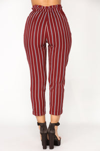 Bethany Striped Pants - Burgundy