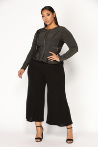 Cozy Chic Wide Leg Pants - Black