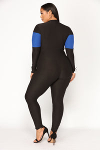 Under Construction Lounge Jumpsuit - Black/Royal Angle 9