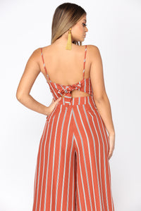 Singing In The Car Stripe Jumpsuit - Rust