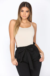 To Go Nowhere Strappy Bodysuit - Taupe
