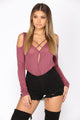 Aliyah Cold Shoulder Top - Mauve
