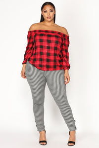 Don't Be Plaid About It Top - Red