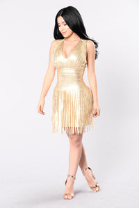 Dancing With A Star Bandage Dress - Gold Angle 1