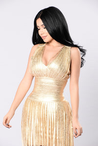 Dancing With A Star Bandage Dress - Gold Angle 4