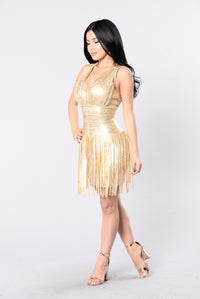 Dancing With A Star Bandage Dress - Gold Angle 3
