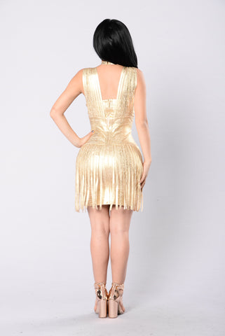 Dancing With A Star Bandage  Dress - Gold