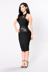 Bring The Heat Bandage Dress - Black