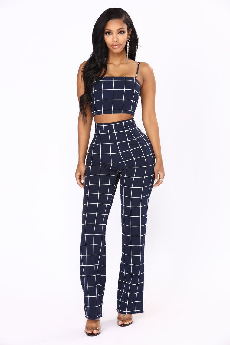 Line By Line Pant Set - Navy/White