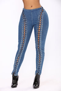 Know Better Lace Up Jeans - Medium Blue Wash