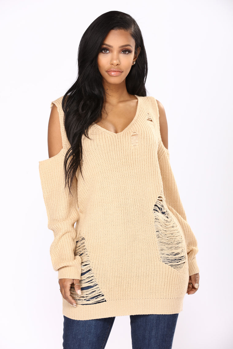 Stay For Another Day Distressed Sweater - Taupe