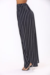 Jocelyn Side Slit Pants - Navy/White
