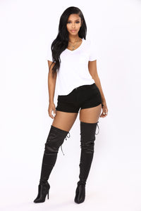 Live The Fantasy Denim Shorts - Black