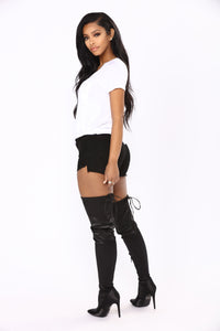 Live The Fantasy Denim Shorts - Black Angle 3