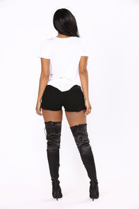 Live The Fantasy Denim Shorts - Black Angle 5