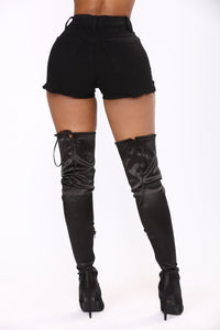 Live The Fantasy Denim Shorts - Black Angle 6