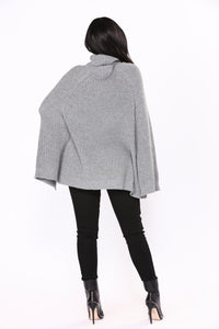 End It On This Turtle Neck Cape - Grey