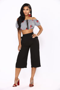 Get With It Gingham Top - Black/White