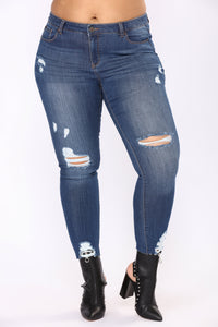 Fresh In Distress Skinny Jeans - Medium Blue Wash