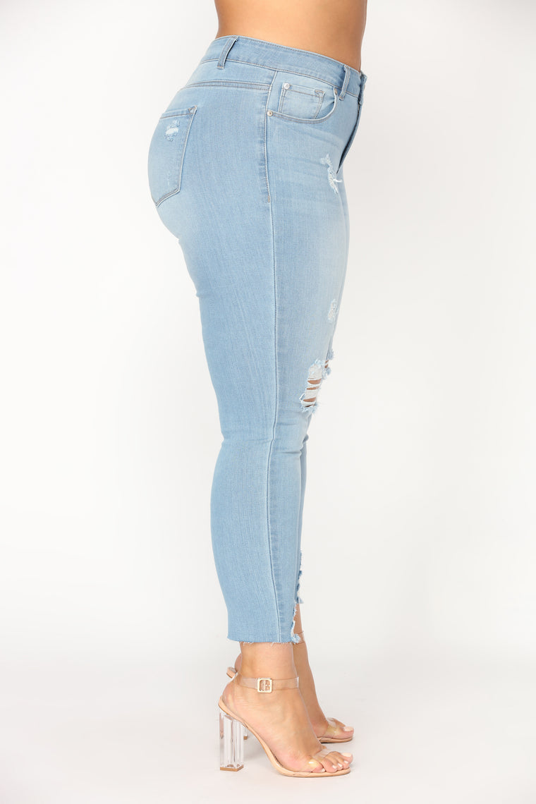 Fresh In Distress Skinny Jeans - Light Blue Wash