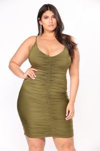 Shenzhen Ruched Dress - Olive