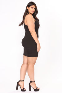 Don't Rush Mini Dress - Black