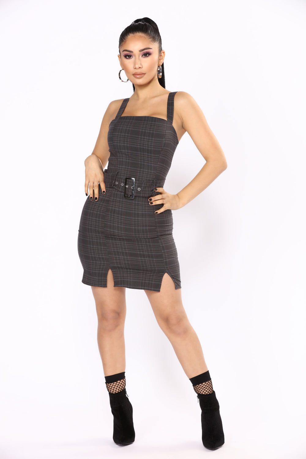 Get Down To Business Plaid Dress - Black