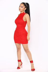 Mocking You Lace Mini Dress - Red