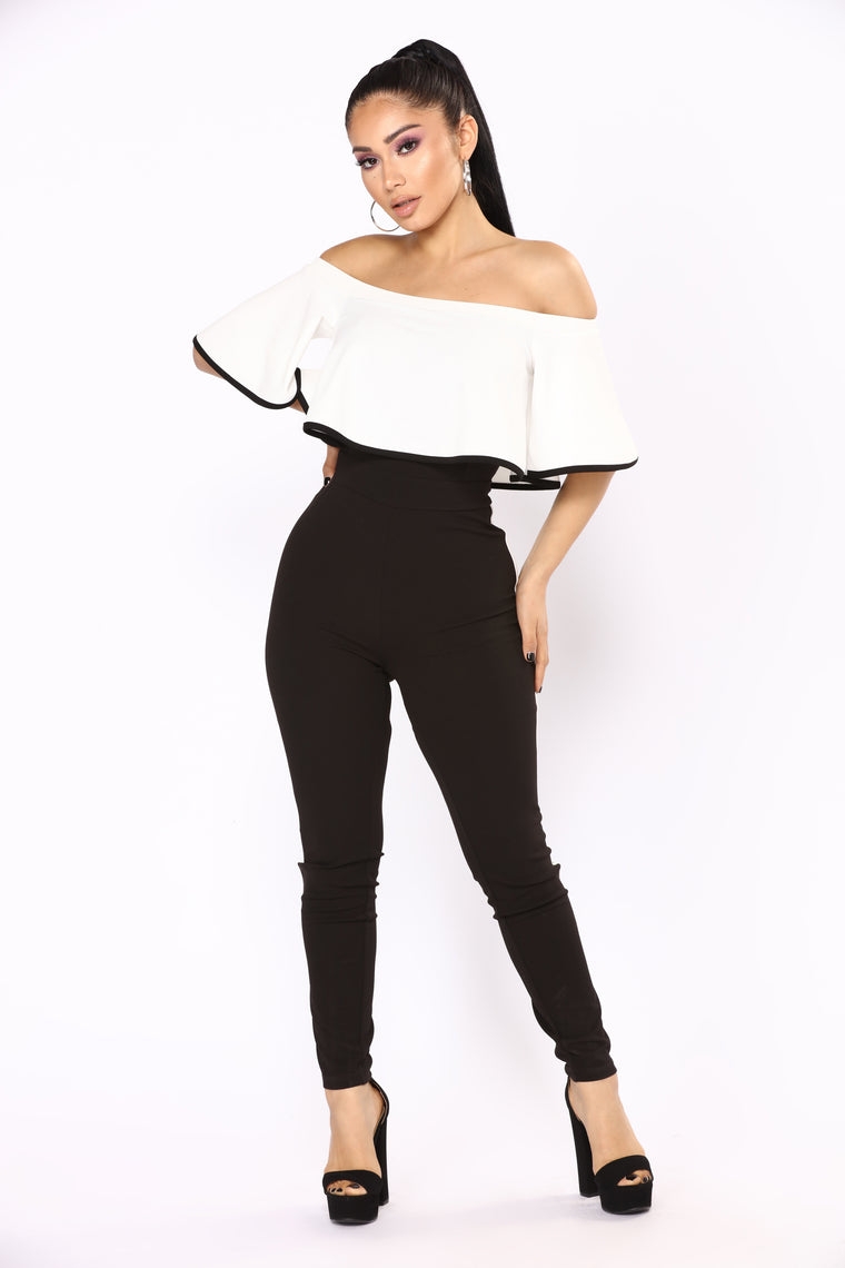 Corner Office Color Blocked Jumpsuit - Off White/Black