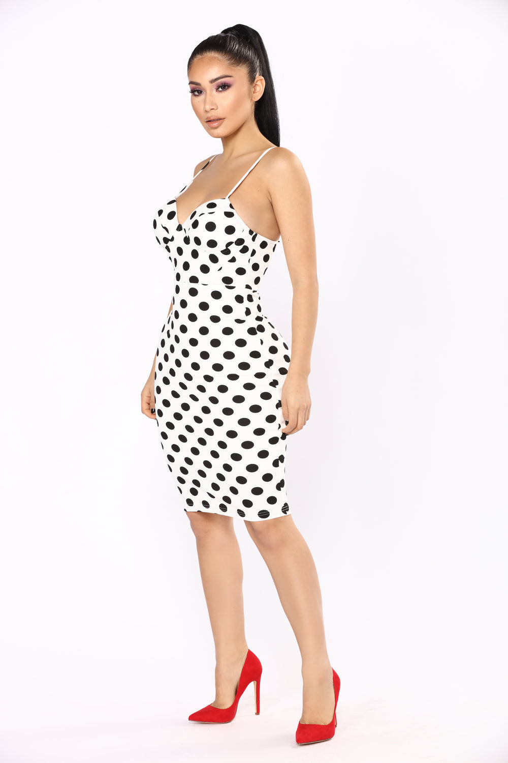 Polka Dot Frenzy Dress - White/Black